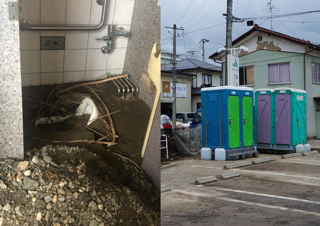 災害時のトイレの様子